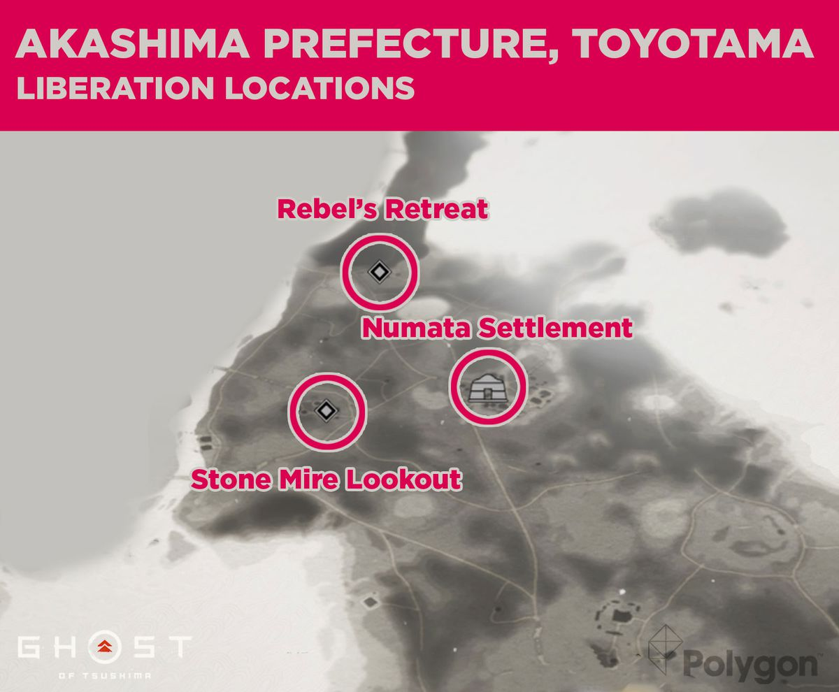 Las ubicaciones de lanzamiento de Akashima en Ghost of Tsushima incluyen: Stone Mire Lookout, Numata Settlement y Rebel's Retreat.