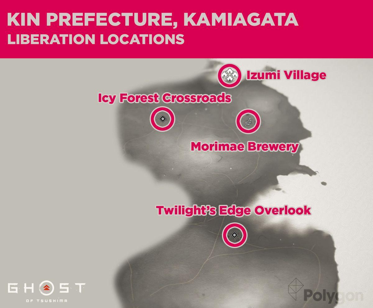 Kin Prefecture en Ghost of Tsushima y sus ubicaciones de lanzamiento, que incluyen: Twilight's Edge Lookout, Morimae Brewery, Izumi Village y Icy Forest Crossroads.