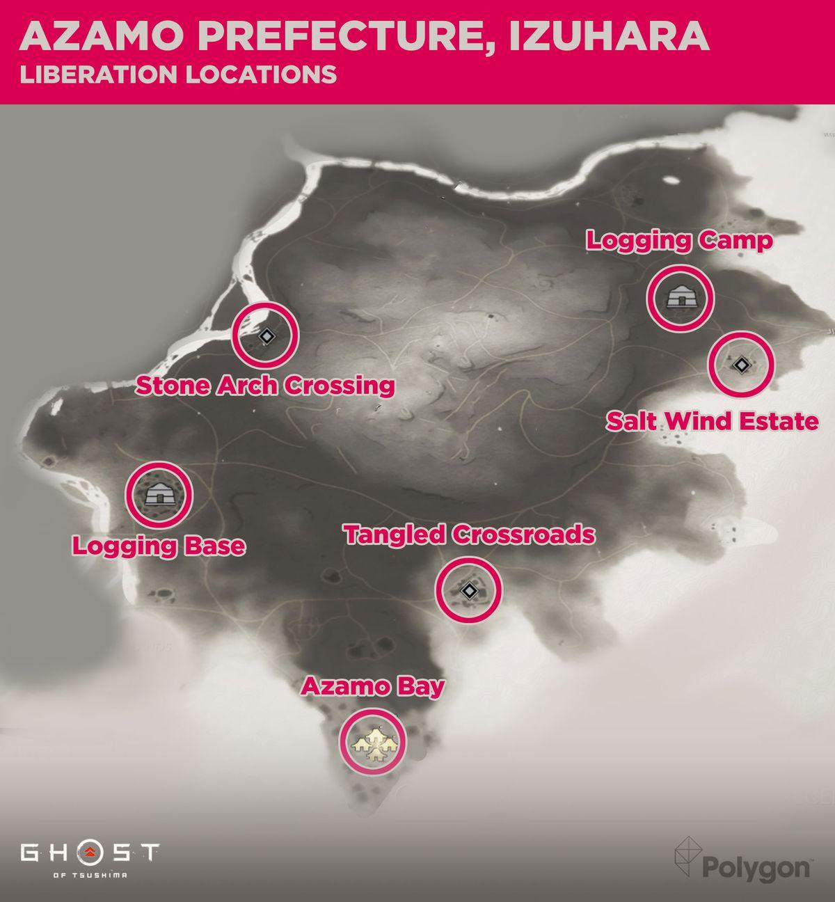 La prefectura de Azamo en Ghost of Tsushima y las áreas que necesitan ser limpiadas, que incluyen: Azamo By, la base de madera, el cruce del arco de piedra, el cruce de caminos, Salt Wind Estate y el campamento maderero.