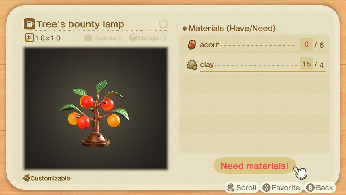 Requisitos de creación para una lámpara de recompensa de árbol