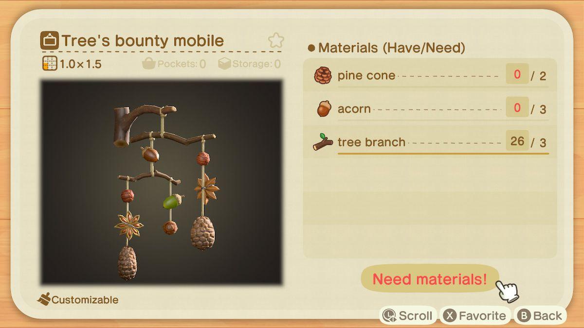 Requisitos de creación para un Tree's Bounty Mobile