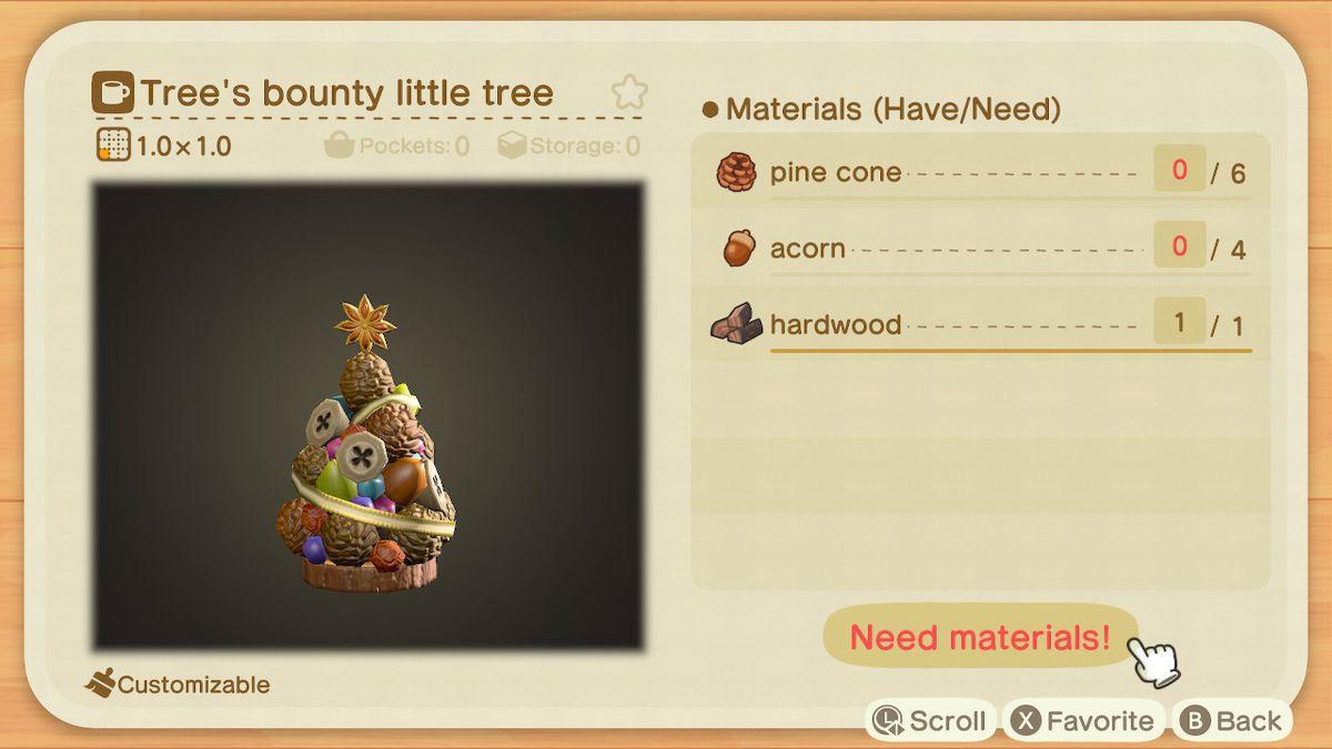 Requisitos de artesanía para un árbol pequeño con una recompensa de árbol