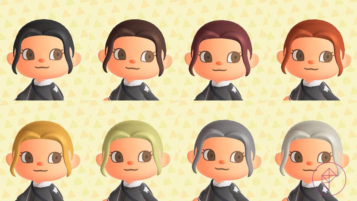 An Animal Crossing presenta ocho colores de cabello naturales, que van del negro al blanco