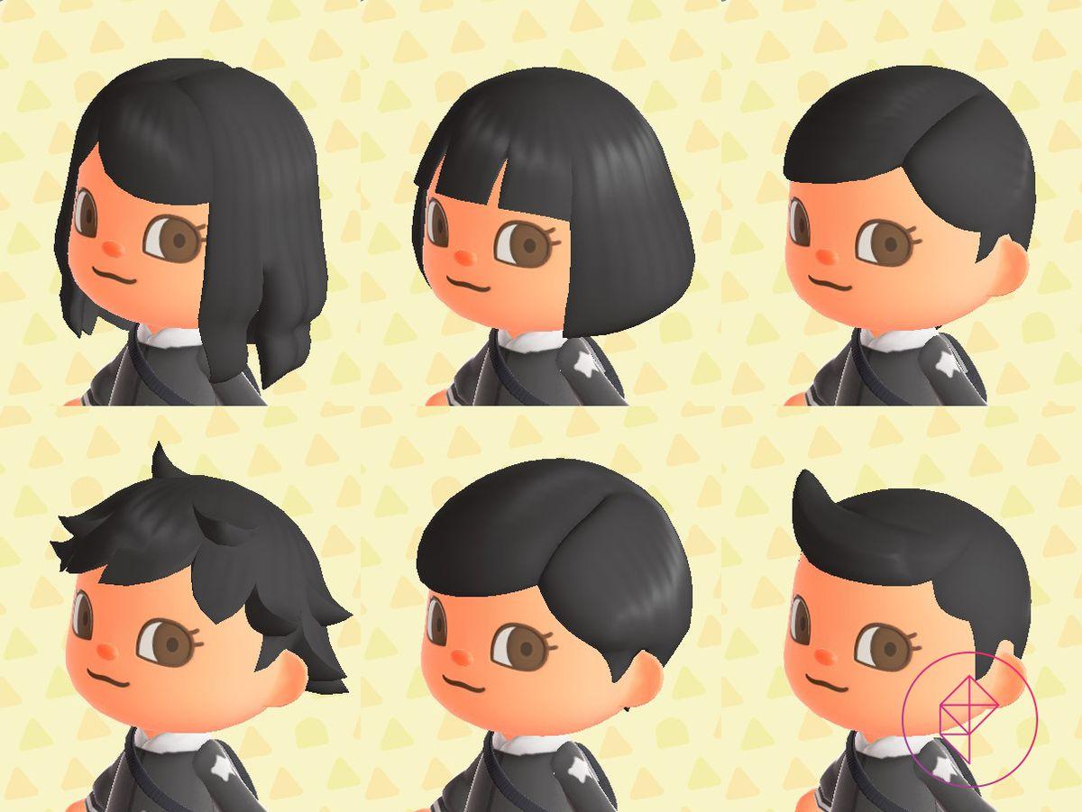 Seis peinados en un residente de Animal Crossing, incluido un atajo desordenado y cabello largo y ondulado
