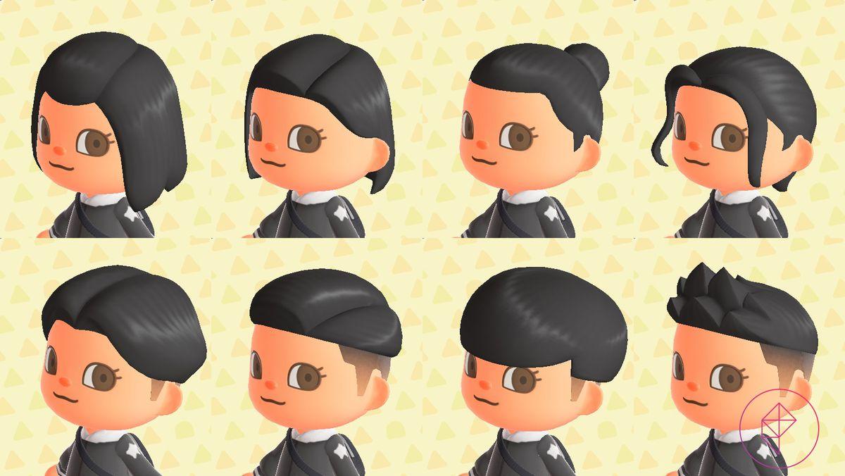 Un personaje de Animal Crossing con ocho estilos de cabello diferentes, que incluyen un moño apretado y flequillo estilizado