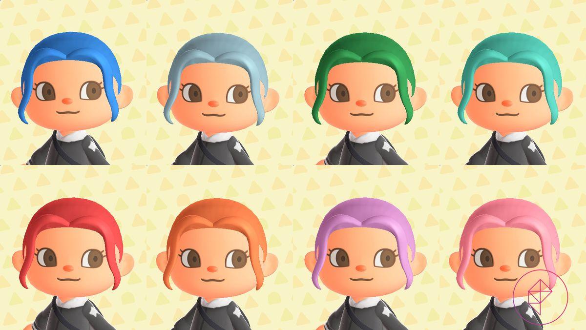 Los personajes de Animal Crossing muestran ocho colores de cabello teñido, incluidos azul, verde y rosa