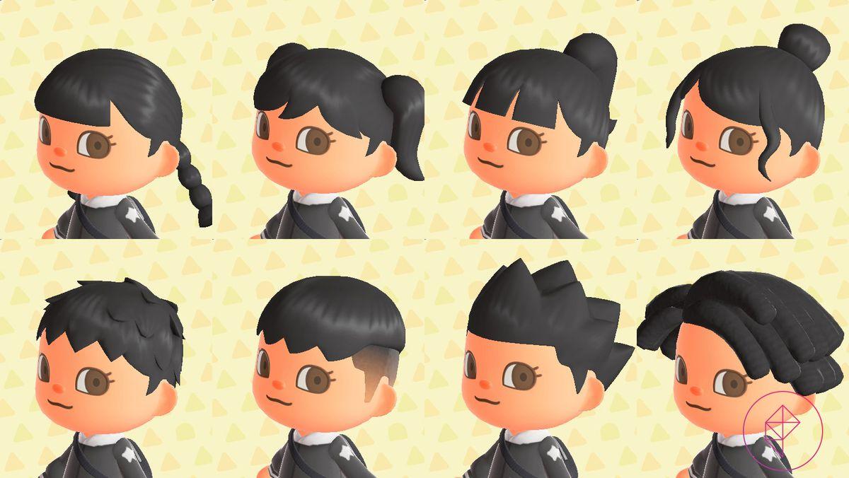 Un personaje de Animal Crossing que muestra ocho estilos de cabello, que van desde un moño desordenado hasta rastas.