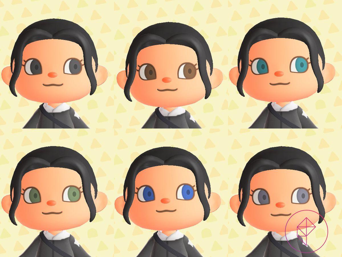 Un aldeano de Animal Crossing que muestra seis colores de ojos diferentes: negro, marrón, verde azulado, verde, azul y gris