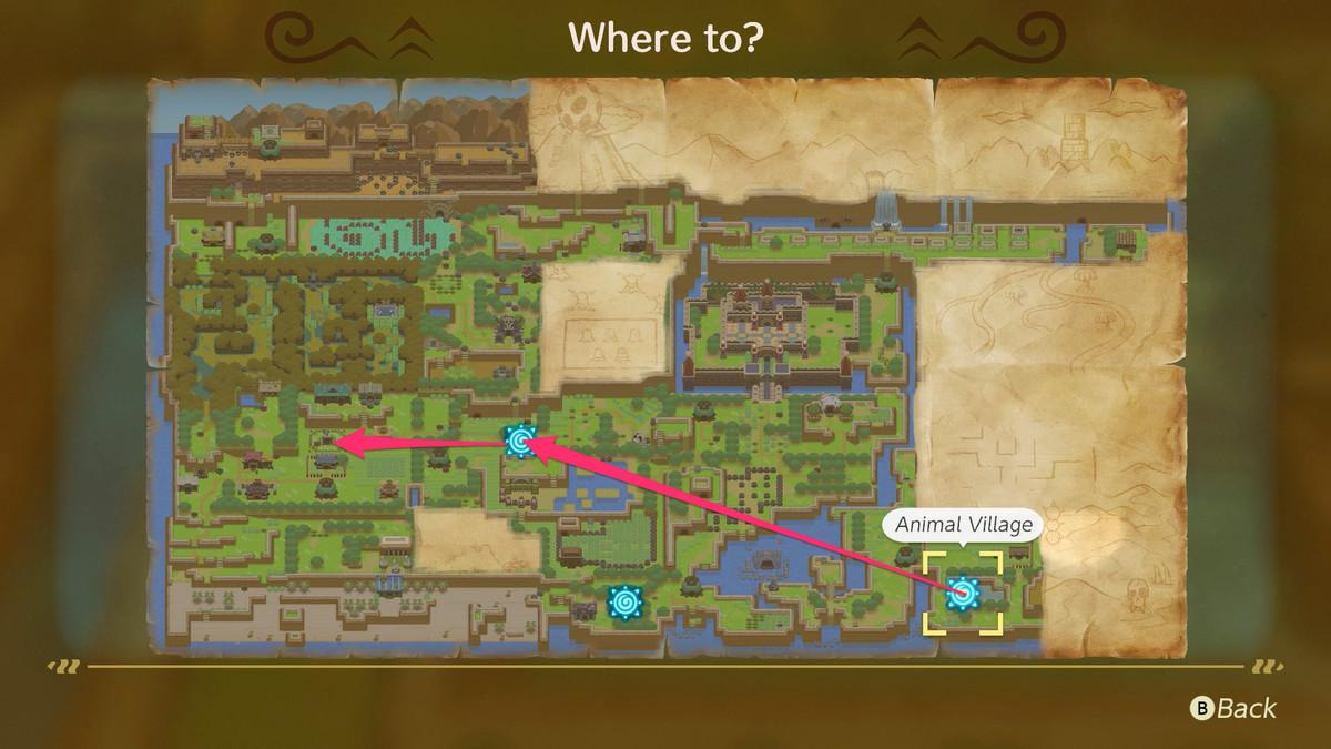 Link's Awakening usa la plataforma plegable de Animal Village para llegar a Ukuku Prairie y dirígete hacia el oeste hasta Mabe Village