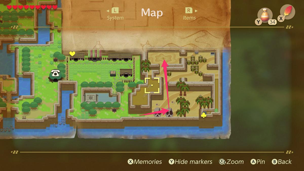 Link's Awakening Yarna desierto camino a Lanmola