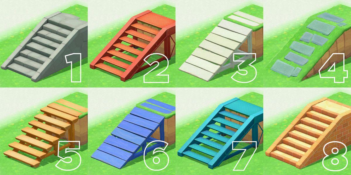 Una serie de escaleras y rampas, todas marcadas con los números del uno al ocho