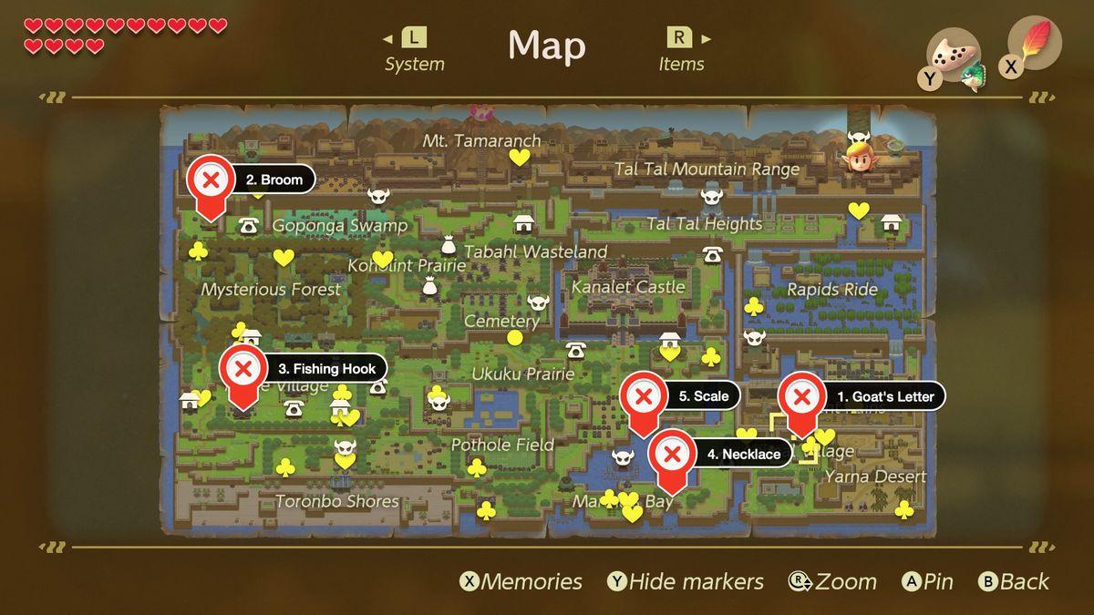 Link's Awakening cinco pasos finales en la secuencia comercial