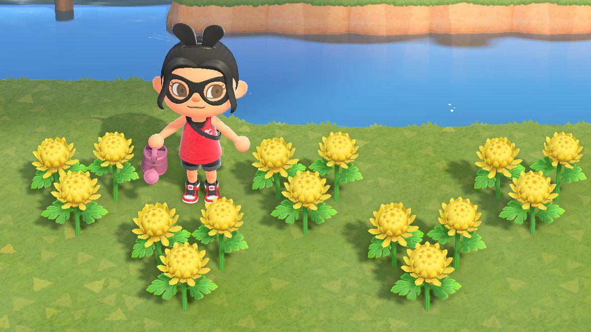 Un personaje de Animal Crossing está parado cerca de las madres amarillas.