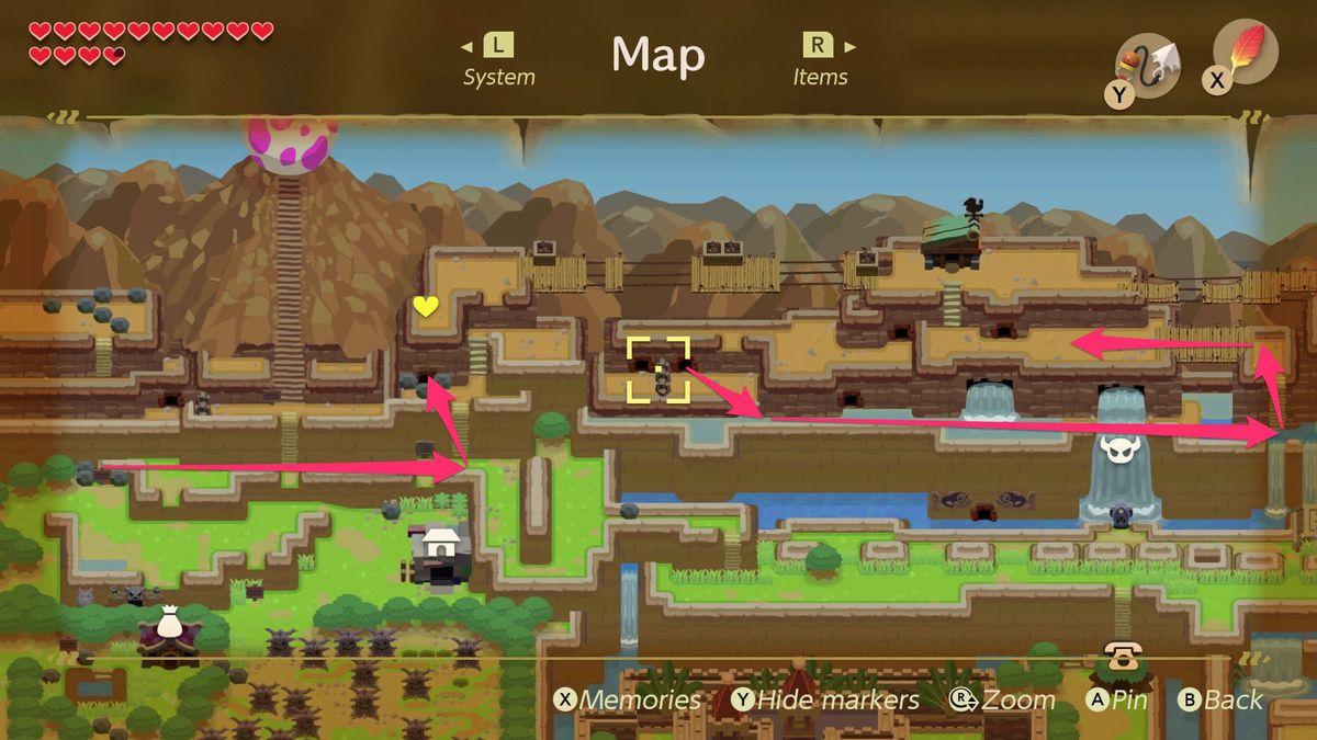 Link's Awakening Tal Tal Heights Camino a Bird Key