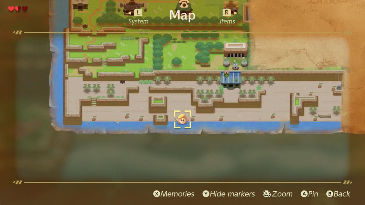 Ubicación de la espada de Link's Awakening Toronbo Shores