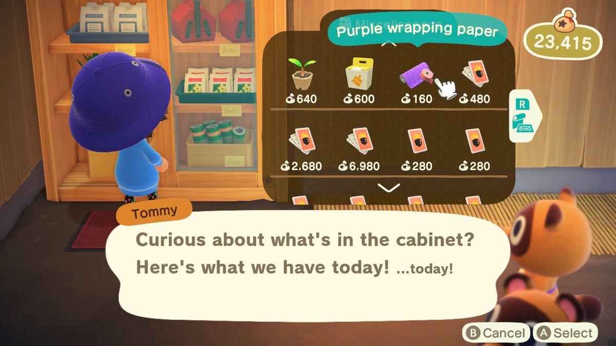 Visualización de papel de regalo en Animal Crossing: New Horizons
