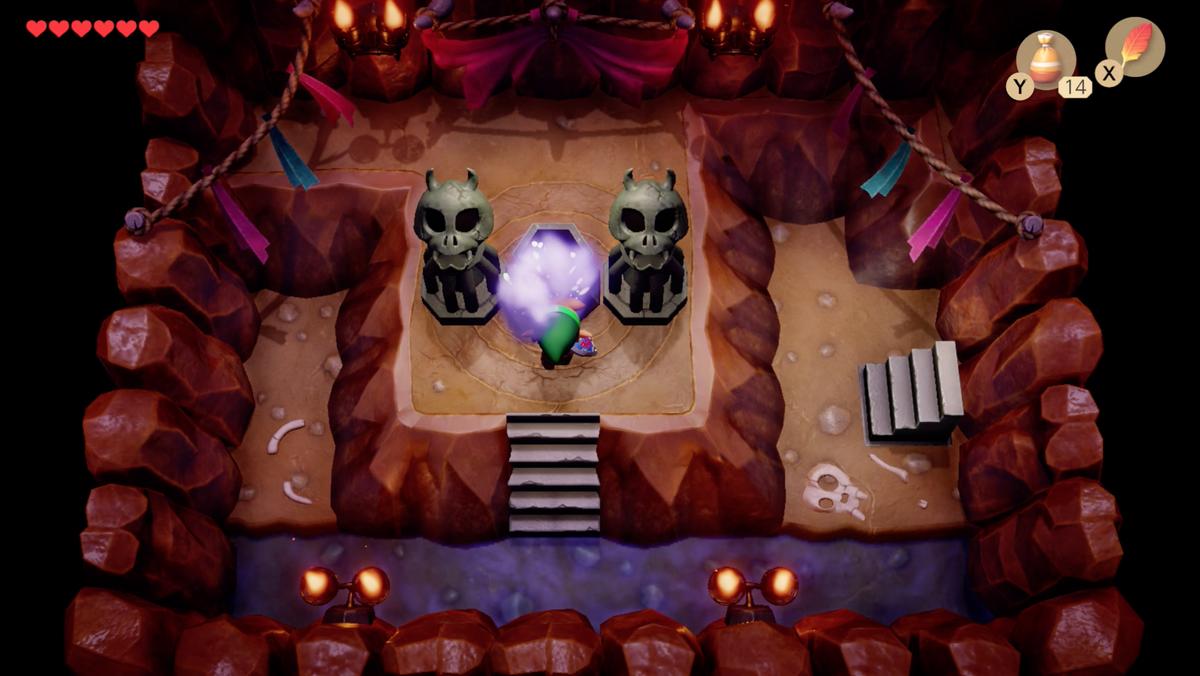 Link's Awakening Mysterious Forest Li'l Devil enciende el brasero y el tamaño de tu inventario de Magic Dust se duplicará