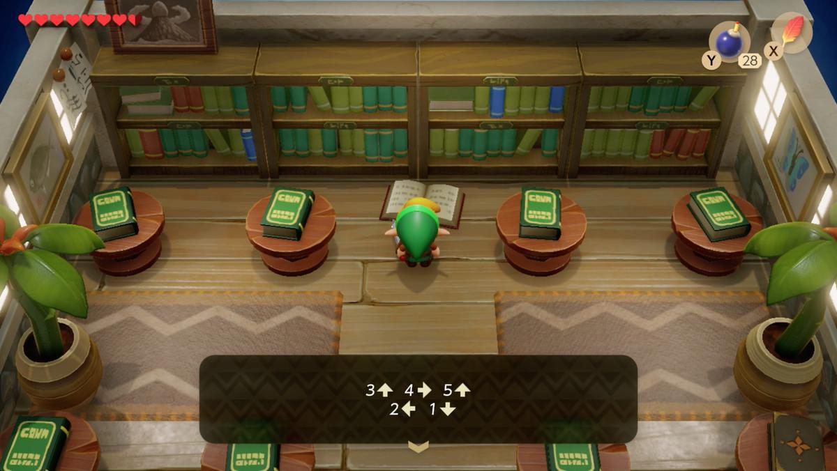 Solución de rompecabezas de la biblioteca de Link's Awakening Mabe Village para la entrada de Color Dungeon