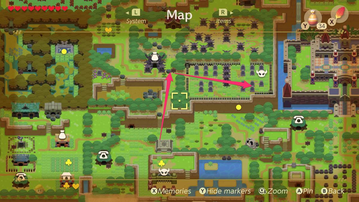 Vincula el camino del despertar al cementerio y la ubicación de la mazmorra de colores