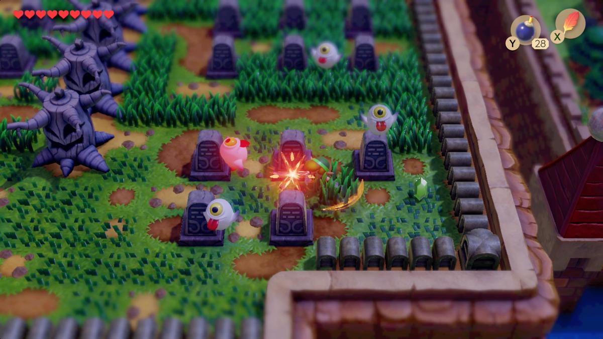 Link's Awakening Cemetery invoca y elimina a los Ghinis antes de comenzar el rompecabezas