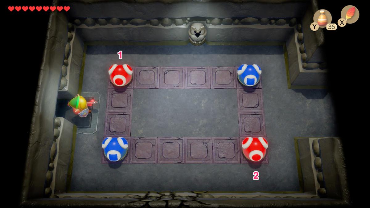 Puzzle de bolas rojas y azules de Link's Awakening Color Dungeon