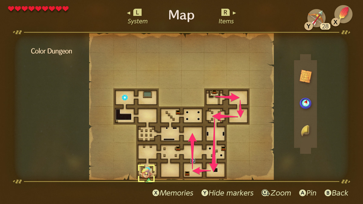 Link's Colour Awakening Dungeon Path para la lucha con el mini-superior Dekudon