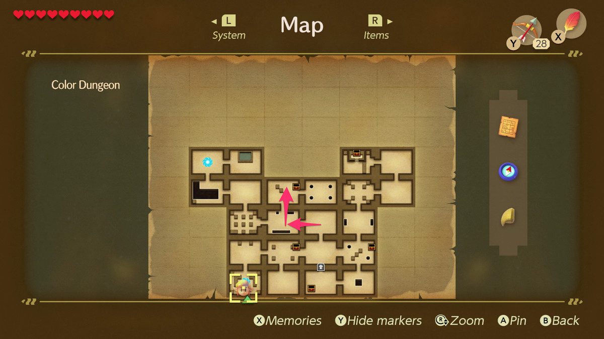 Ruta de Link's Awakening Color Dungeon al Mapa de Color Dungeon