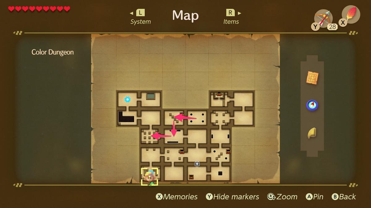 Link's Awakening Color Dungeon forma de luchar contra el jefe Hardhit Beetle