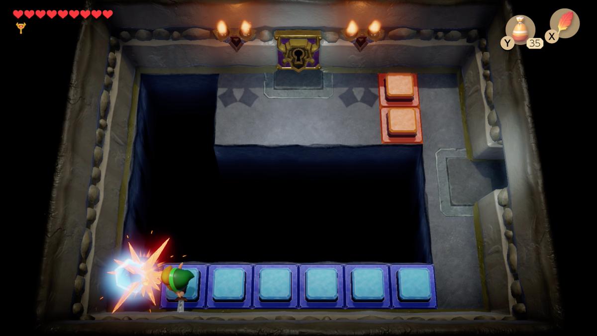Link's Awakening Color Dungeon usa el cristal para abrir un camino hacia la puerta Nightmare