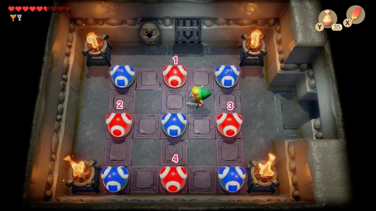 Tercer rompecabezas de Link's Awakening Colour Dungeon donde debes convertir todas las bolas en azul.