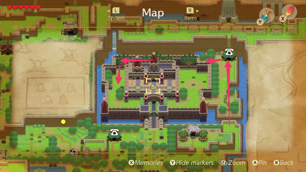 Link's Awakening Kanalet Castle camino a la primera Hoja Dorada