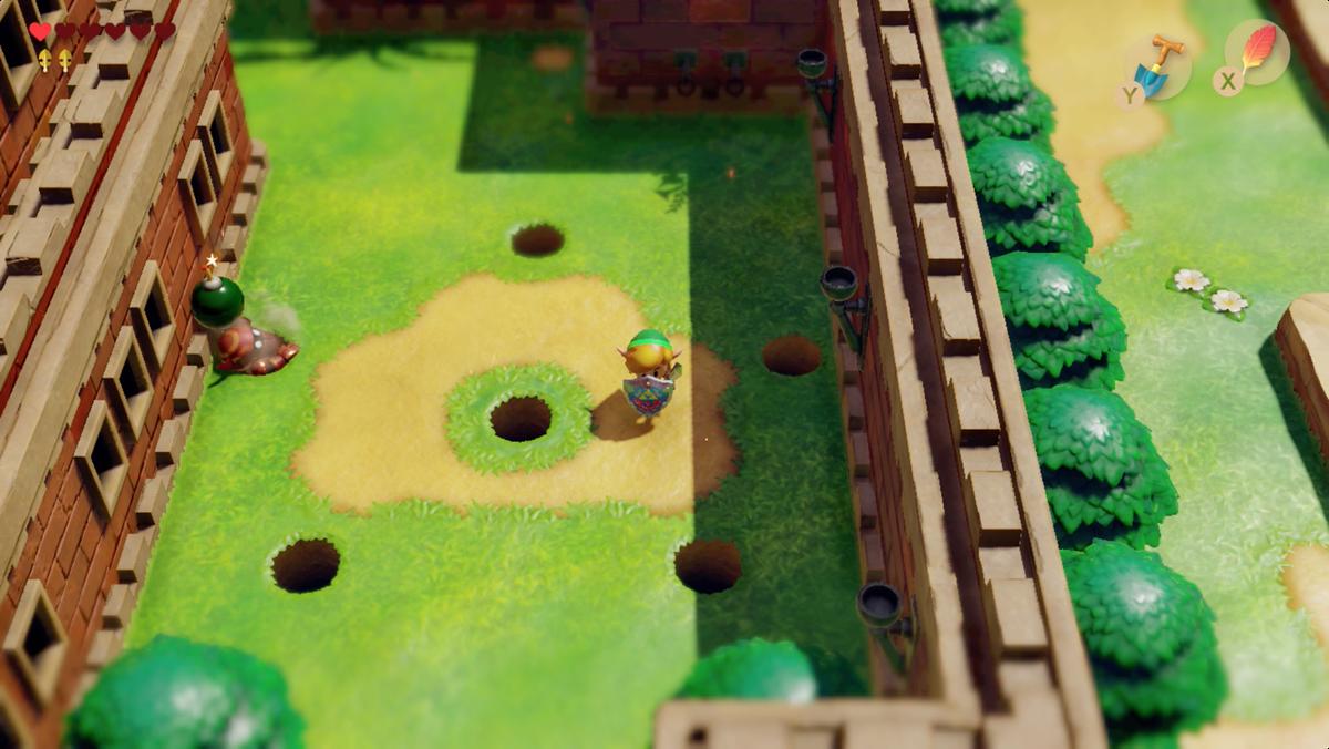 Link's Awakening Kanalet Castle Mad Bomber y segundo Golden Leaf