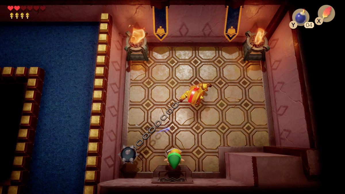 Link's Awakening Kanalet Castle Ball y Chain Soldier luchan por el quinto y último Gold Leaf.