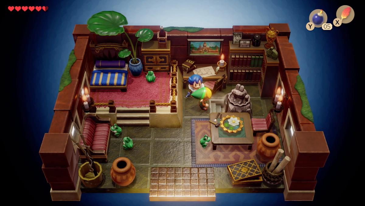 Link's Awakening Richard Pothole Field regresa con las cinco hojas doradas, empuja la estatua y encuentra unas escaleras