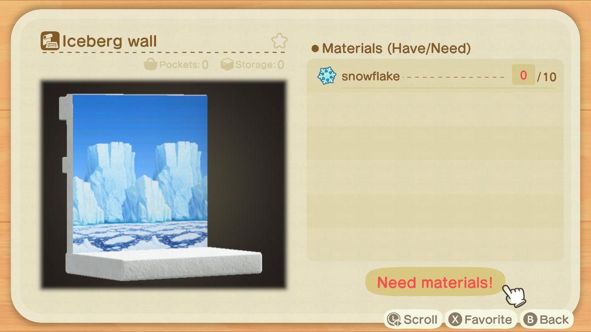 Una receta de Animal Crossing para un muro de iceberg