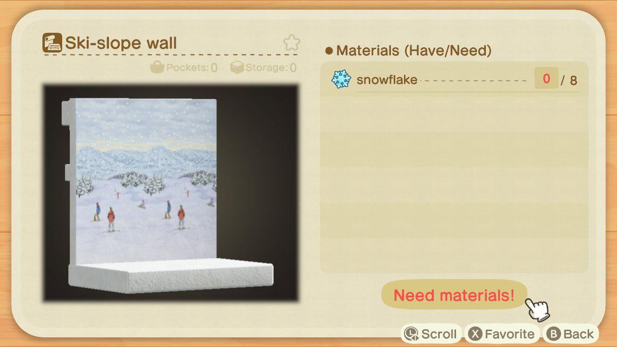 Una receta de Animal Crossing para la pared de una pista de esquí