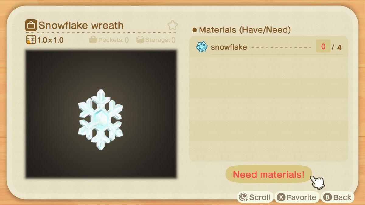Una receta de Animal Crossing para una corona de copos de nieve