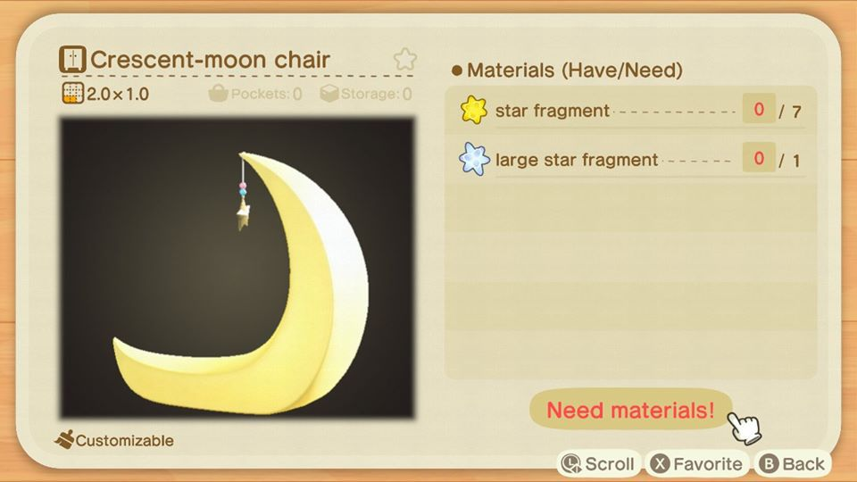 Silla Crescent Moon en Animal Crossing New Horizons