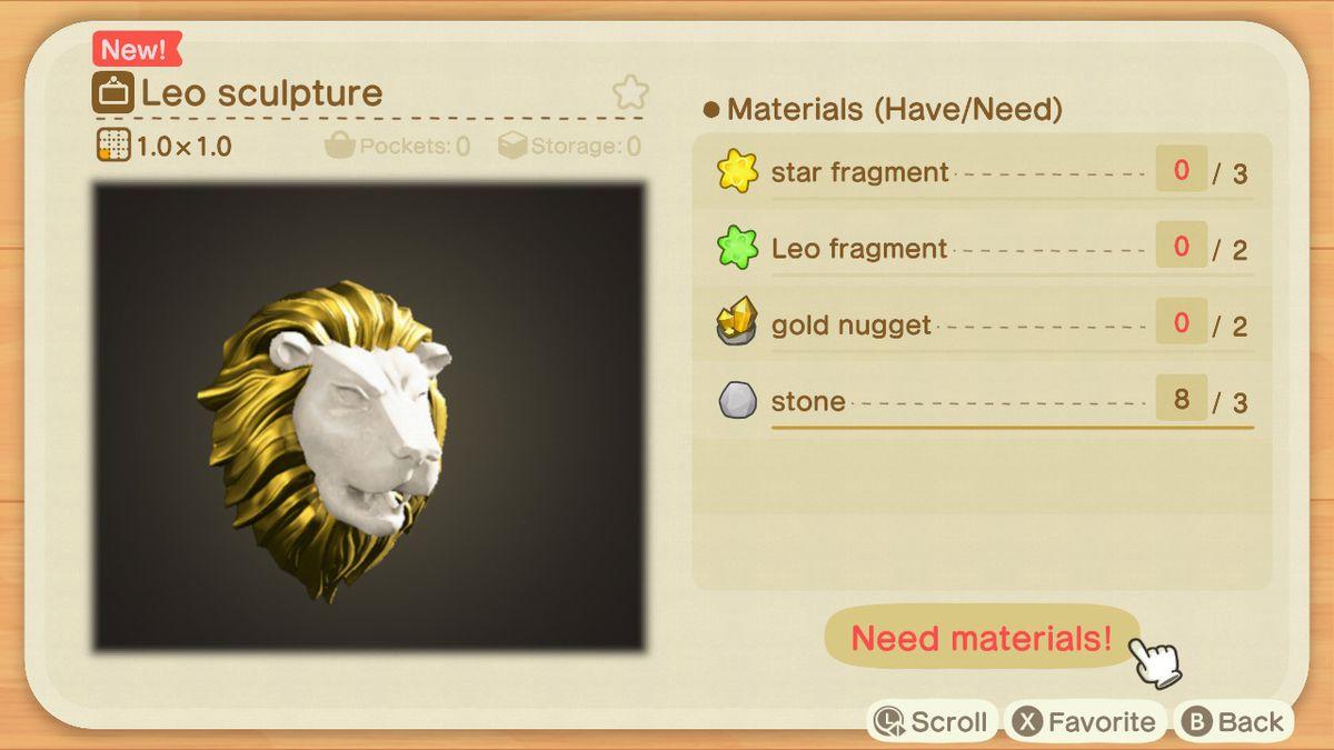 Una receta de Animal Crossing para una escultura de Leo