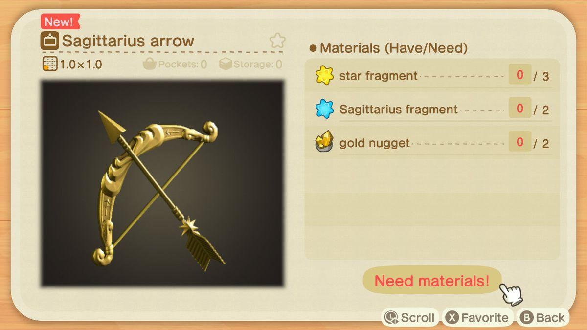 Una receta de Animal Crossing para una flecha de Sagitario