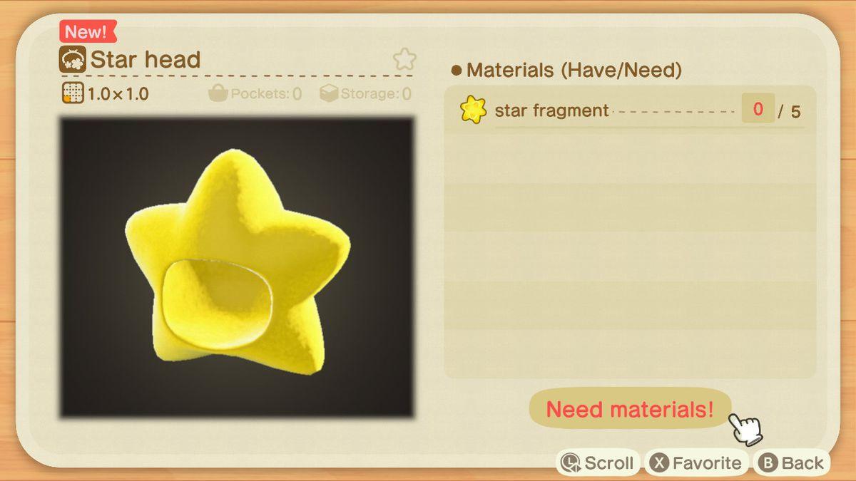 Una receta de Animal Crossing para una cabeza de estrella