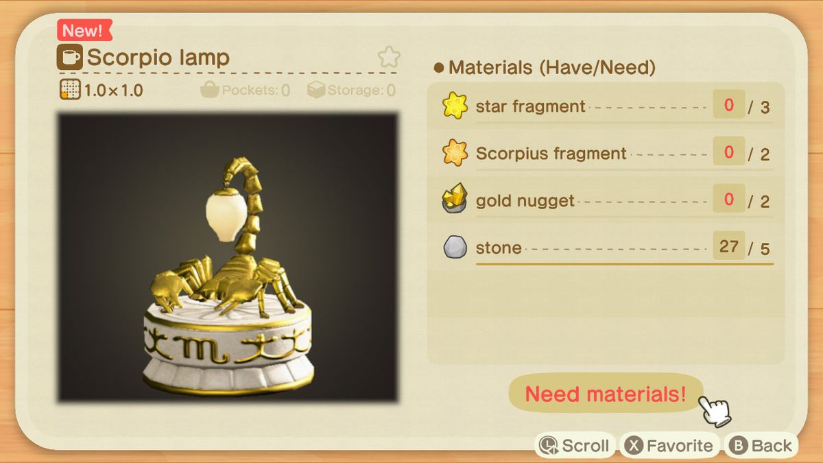 Una receta de Animal Crossing para una lámpara Scorpion