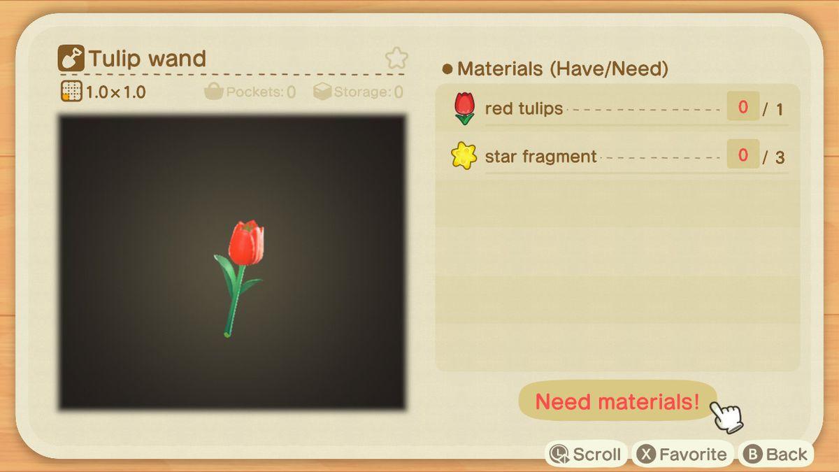 Una lista de recetas para una varita de tulipán.