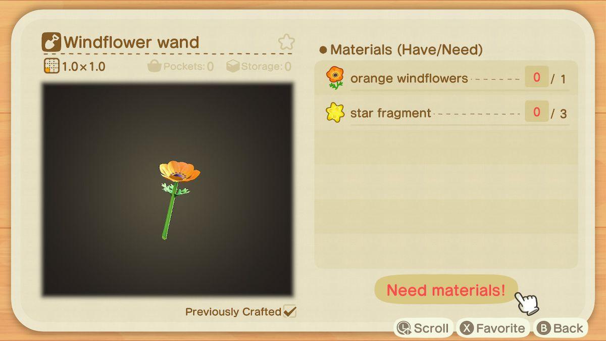 Una lista de recetas para una varita de Windflower