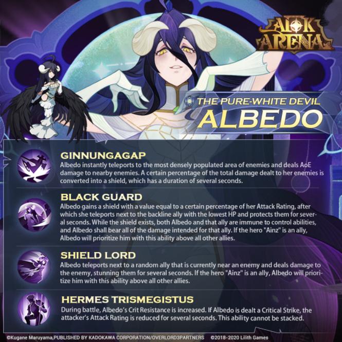 vista previa del nuevo héroe del albedo de la arena afk