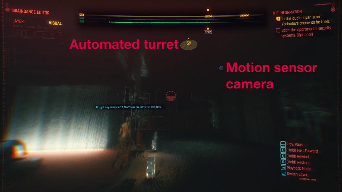 Cyberpunk 2077 braindance cámara con sensor de movimiento de torre automatizada.png
