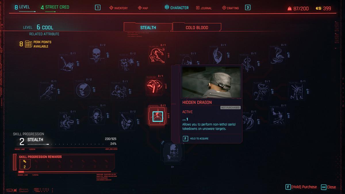 Cyberpunk 2077 Stealth Perk árbol que muestra Hidden Dragon, que