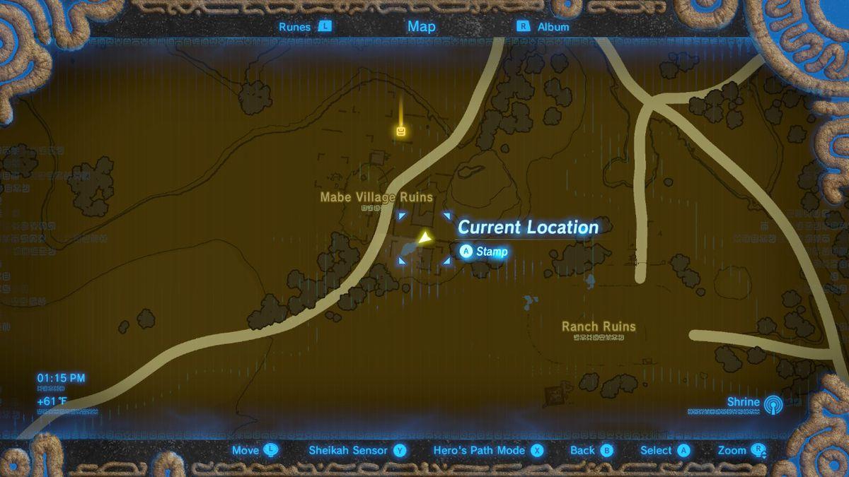 La ubicación de Tingle's Tights en las ruinas del pueblo de Mabe