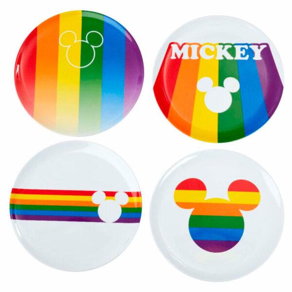 Pack 4 platos melamina Mickey Rainbow Disney